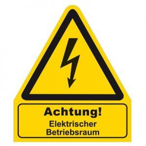 Aufkleber - Warnschild Achtung elektrischer Betriebsraum
