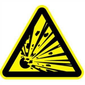 Aufkleber Warnung vor explosionsgefährlichen Stoffen gemäß ASR