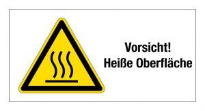 """Warnschild """"Vorsicht heiße Oberfläche"""