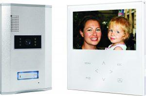 Smartwares VD71W SW Video-Türgegensprechanlage mit flachem Touchscreen-Panel, Farbbildmonitor weiß